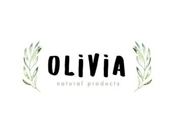 Wreath logo, premade logo, eco logo, natural logo, leaves logo, olives logo, logo design, blog logo, chef logo, restaurant logo, bar logo