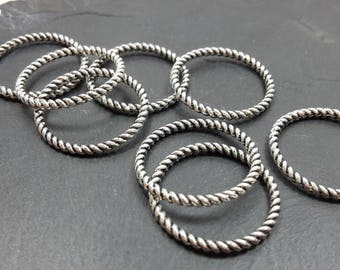 18 mm, twisted rings closed, fancy rope, dark silver metal rings connectors findings rings
