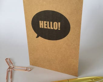 Hello just because greeting card A6 friendship card