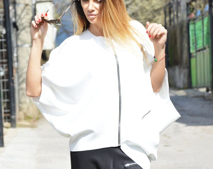 Asymmetric Maxi Jacket, Extravagant Neoprene White Top, Loose Zipper Top, Sport Sweatshirt by SSDfashion