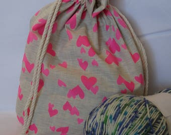 Hearts Sock Size Project Bag| Knitting Bag | Crochet Bag~ TamsCraftyKnits