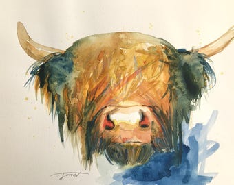 ORIGINAL watercolour Highland cow moo watercolor painting xmas wall decor nature love abstract a3 large size