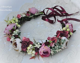 Flower hair wreath Wedding flower crown Bridal Flower Crown Woodland Crown Boho wedding hairpiece Floral Halo Wedding floral crown LV12