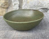Pottery Bowl, handmade soup, salad or cereal bowl with Tea Green glaze