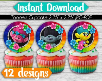 50% OFF SALE 12 Trolls Cupcakes Toppers Instant Download, Printable Trolls Party Cupcakes Topper, Rainbow Instant Download, pdf jpg