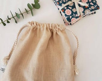 Set of 7 wipes in organic cotton and certified oekotex and organic bamboo wipes bag with linen and cotton