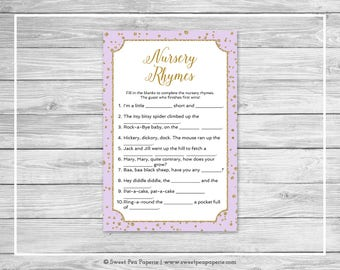 Purple and Gold Baby Shower Nursery Rhyme Game - Printable Baby Shower Nursery Rhyme Game - Purple and Gold Confetti Baby Shower - SP148