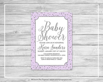 Purple and Silver Baby Shower Invitation - Printable Baby Shower Invitation - Purple and Silver Baby Shower - Baby Shower Invitation - SP153