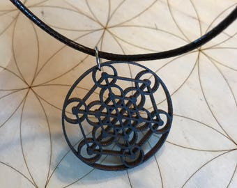 Sacred Geometry Wooden Pendant - Mandala -Stained Dark - Birch Wood