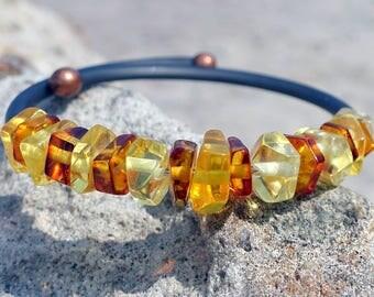 Baltic Amber Jewelry, Amber Adjustable Bracelet, Cuff Bracelet, Gemstone Bracelet