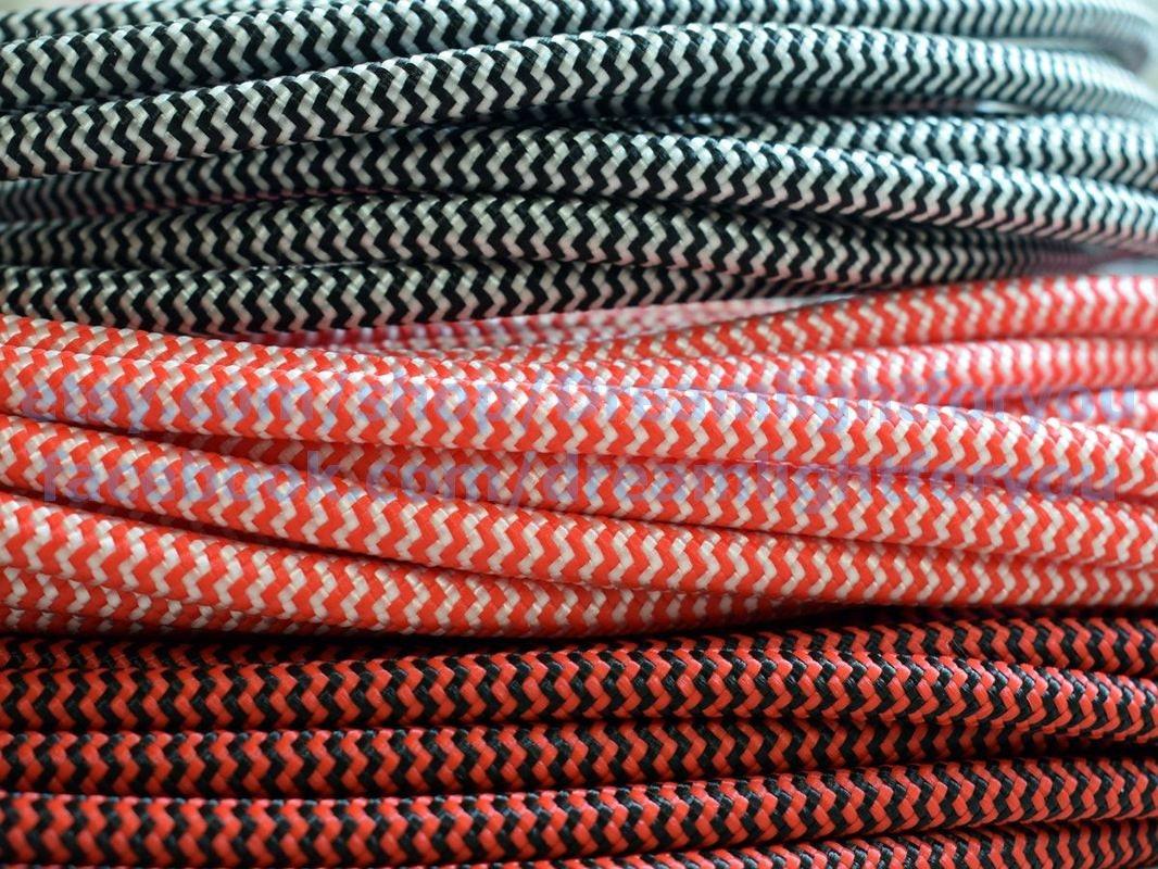 Zick-Zack-Textil-Kabel 1-25m 3-80ft Tuch bedeckt Draht 2x0.5