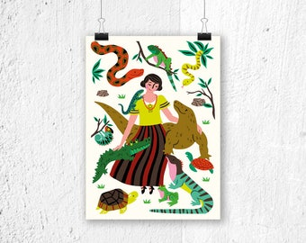 Poster Reptiles - print - animals poster - poster children's bedroom - nursery - poster kids room - girls poster - poster animals - snakes