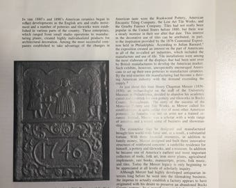 Henry Chapman Mercer:  tilemaker, collector, and builder extraordinary.  Antiques MAGAZINE ARTICLE 1973