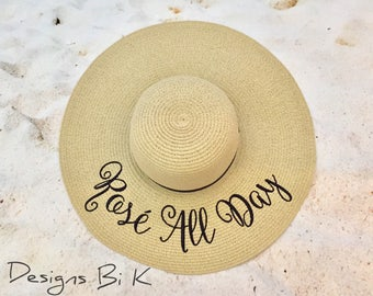 Rose All Day hat, Personalized straw hat, Personalized sun hat, Beach hat, Embroidered floppy hat, Custom vacation hat, Personalized gift