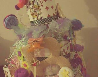 Alice in Wonderland- Chesire Cat diaper cake