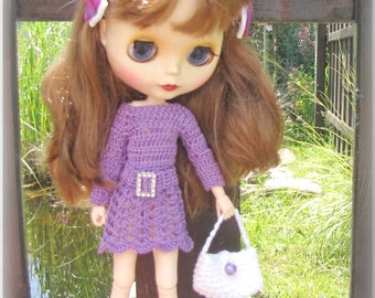 Crocheted dress for Blythe doll FREE SHIPPING