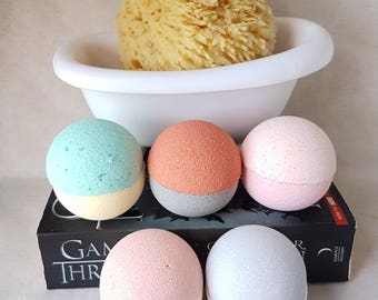 Game of Thrones Inspired Bath Bomb Gift - Houses of Westeros - Game of Thrones Bath Set - Natural Bath Fizz - Aromatherapy Pamper Pack - GoT
