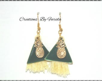 Sequin green triangle and gold pineapple charm and yellow tassel earrings