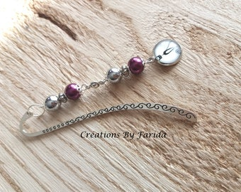 Bookmark in silver with pearls grey and purple cabochon with a cat