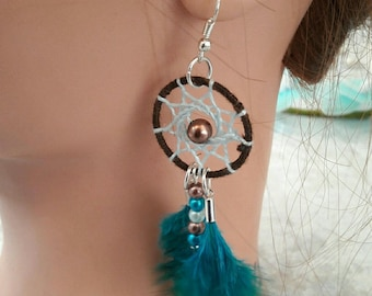 Dream catcher earrings with turquoise feathers