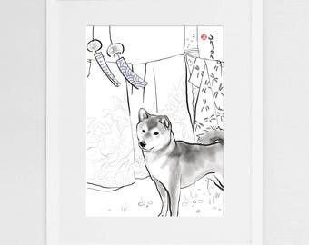 Shiba Inu and Kimono (LARGE) Art Poster,International Dog Sumi-e Painting Print Illustration Asian Japanese Summer Zen Art Cute Ink Drawing
