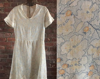 Flower and Berries Sheer 1920s Cotton Dress