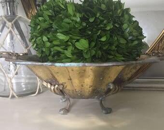 Vintage Brass Ornate Pedestal Bowl