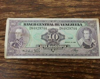 Bank note Banco central de Venezuela