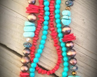Three strand copper, teal and red