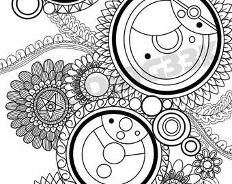 Digital Doctor Who Gallifreyan Zentangle Printable Coloring Sheet