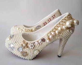 Personalized Custom Ladies Wedding Shoes Pearls Bridal Shoes Fashion Bridal Shoes