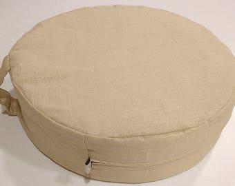 Natural flax Meditation cushion with linen cover, Zafu flax filler and cotton pillow, Zafu cushion, Eco-friendly Floor pillow,Floor cushion