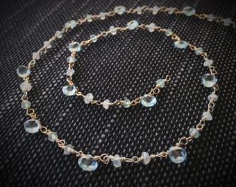 Natural Raw stones Necklace, Choker, Bracelet, Blue Topaz, Moonstone, Aquamarine Necklace, Handmade Rosary Chain, Layered Necklace, Gifts