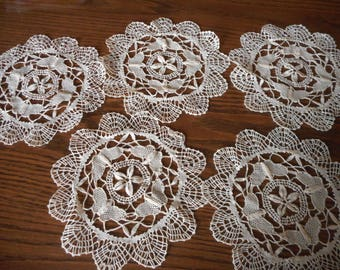 5 Needlelace  Pieces for Upcycling, Display, or Crafts