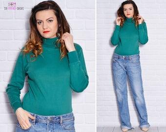 Turtleneck Blouse Polo neck Top Green High Neck Long Sleeve bodycon school Cotton Long Sleeve Baggy Winter outfit Women Clothing