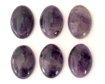 25x18 mm natural amethyst oval cabochons  6 pieces lot