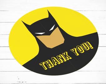 Batman Stickers, Batman Thank You Stickers, Batman Party Supplies, Batman Favour Tags, Batman Stickers, Batman Party Theme