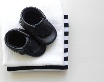 Black Baby Leather Moccasins, Softsole Shoes, Genuine Leather Baby Moccs, Crib shoes, Babyboy loafers, Baptism Babyboy Outfit, Baptism Shoes
