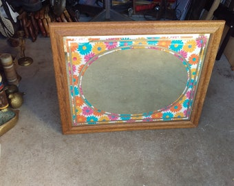 vintage framed mirror with fabric material Flower decoration inside,oval flower mirror