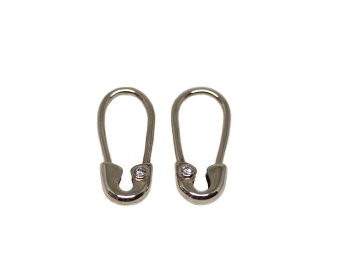 Mini White Gold Diamond Safety Pin Earrings