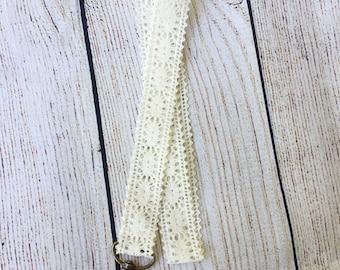 Lace Lanyard// Boho Lanyard // ivory lace lanyard // woman's lanyard