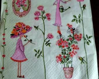 3 paper roses napkin paper roses, towel jardineres paper napkins