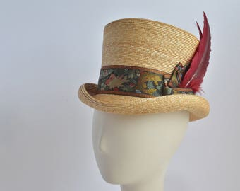 708 - Straw Top Hat with Feathers
