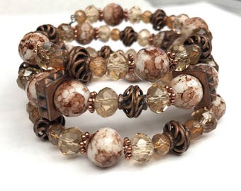 Taupe White Crystal Memory Wire Bracelet, Beaded Bracelet, Memory Wire Bracelet, Crystal Bead Jewelry, white jewelry, wire wrap bracel