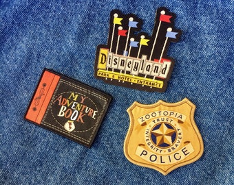 SALE! Iron-on Patches | Zootopia Patch | Disneyland Patch | Vintage Sign | Disneyland Vintage Sign | Adventure Book Patch