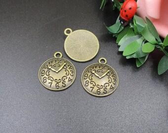 10Pcs 18x21mm Bronze Clock Charms-p1677