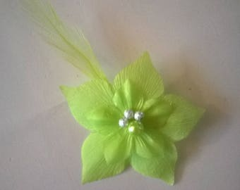 Bridal brooch groom boutonniere silk flower green lime green beads / silver feather evening wedding ceremony