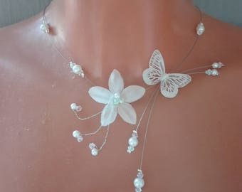 Butterfly silk flower bridal necklace white pearls / clear bridal evening ceremony Christmas