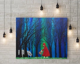 Little Red Riding Hood Nursery Rhyme Painting - Nursery Rhyme Art - Red Riding Hood Painting - Children's Room Art - Northern Lights
