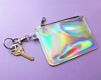 Holographic Card Holder Wallet Keychain
